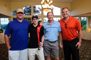 Kevin is pictured here with his father and New England Patriot Guard Logan Mankins (L) and 98.5 FM WBZ Sportscaster Scott Zolak (R) at BIA-MA's 2013 Annual Golf Classic.