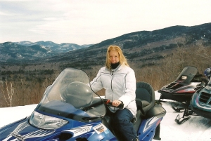 Kim Boleza on her snowmobile
