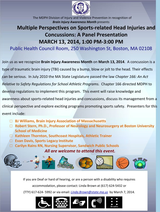 Join us in Boston on March 13, 2014 at 1:00 pm for a Panel Presentation on Sports-related Head Injuries and Concussions