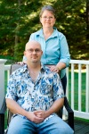 2010/09/18 Middleboro; kristen_in/Donna & Rob Bonia/RobBonia02.jpg; KRISTEN WALTHER/Standard-Times special ++ Rob Bonia sits with his mother Donna behind him, who is also his caregiver since he was 14yrs old outside their Middleboro home.